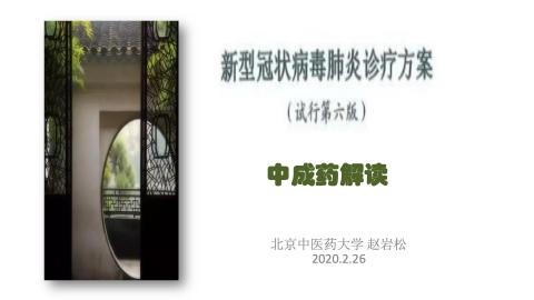 赵岩松--第六版新冠诊疗方案中成药解读